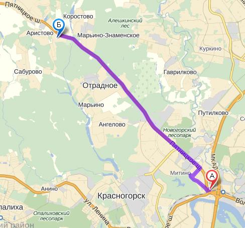 Схема проезда в поселок Новое